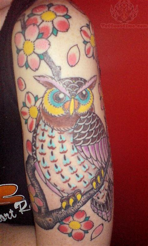owl half sleeve tattoo pink flowers and owl on half sleeve
