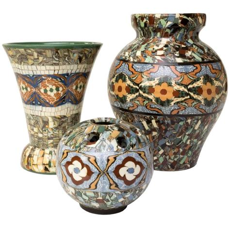 Mosaic Vases For Sale by Of Three Vallauris Clay Mosaic Vase By