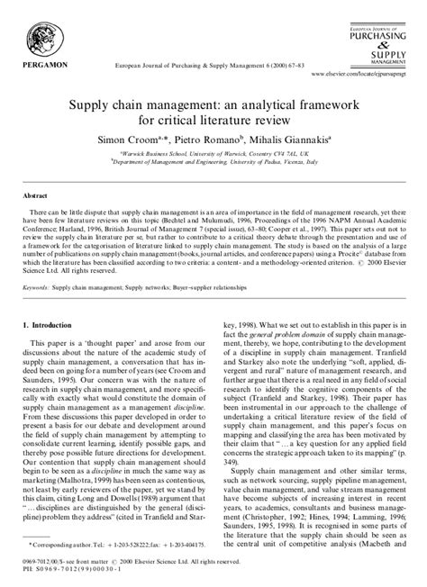 Critical Literature Review Define by 3 Supply Chain Management A Analytical Framework For Critical Literat