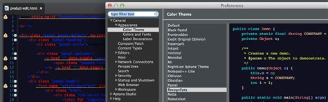 eclipse theme aptana eclipse font color not changing when choosing different
