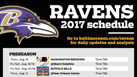 printable ravens schedule ravens downloadable 2017 schedule baltimore sun