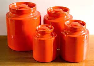 vintage mod orange ceramic canister set