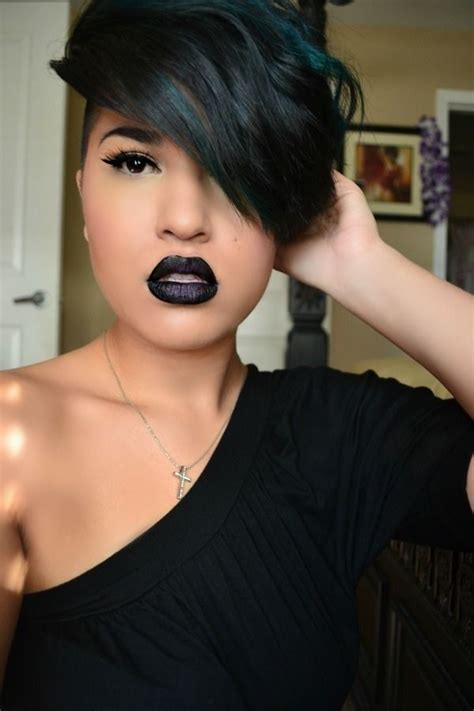 short hairstyles black deep swoops best new black short hairstyles with side swept bangs