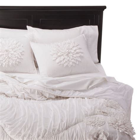 white textured comforter rizzy home texture flower comforter set white full queen