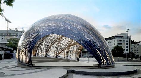 Pavillon Uni Stuttgart by Lightweight Pavilion Mimics The Structure Of Water Spider