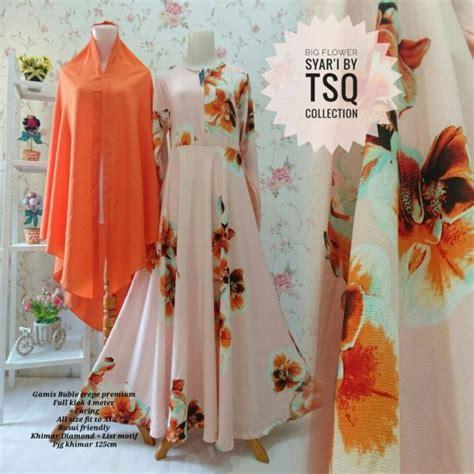 Gamis Set Anak Cewe Syari gamis syar i cantik b101 big flower model baju muslim modern
