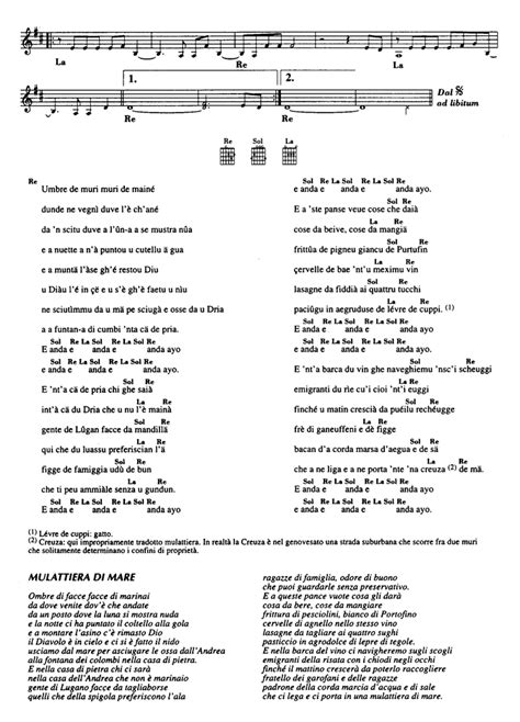 testo easy creuza de ma fabrizio de andr 232 sheet guitar chords