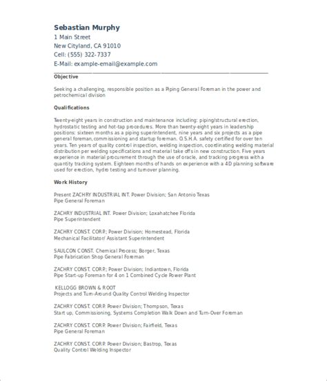 6 sle pipefitter resume templates free pdf templates