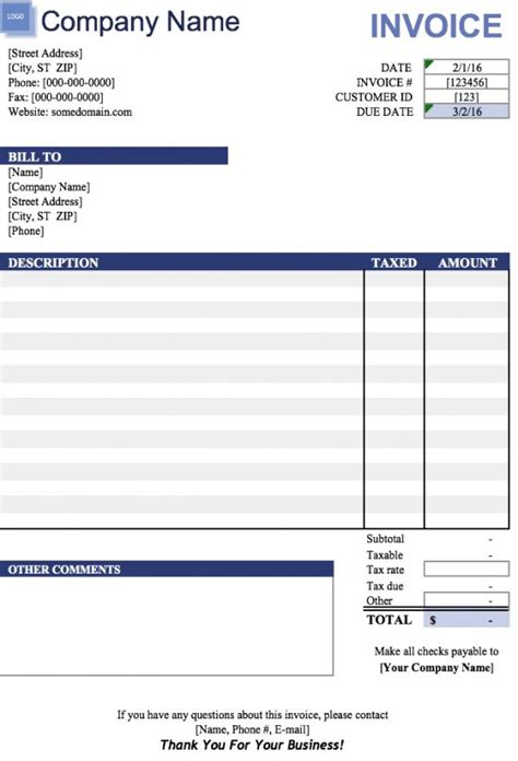 19 Free Invoice Template Excel Easy To Edit And Customize Invoice Template Microsoft
