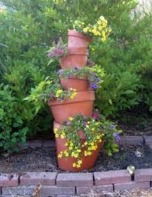 how to make a crooked terra cotta pot flower tower with