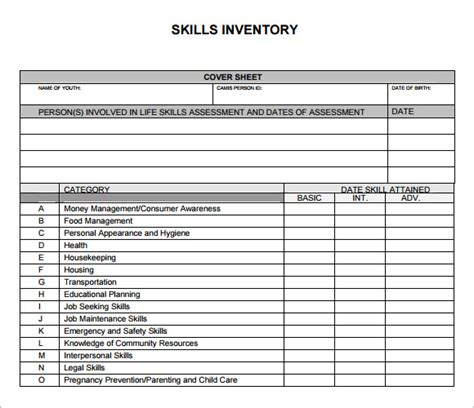 skill assessment template sle skills inventory template 10 free documents