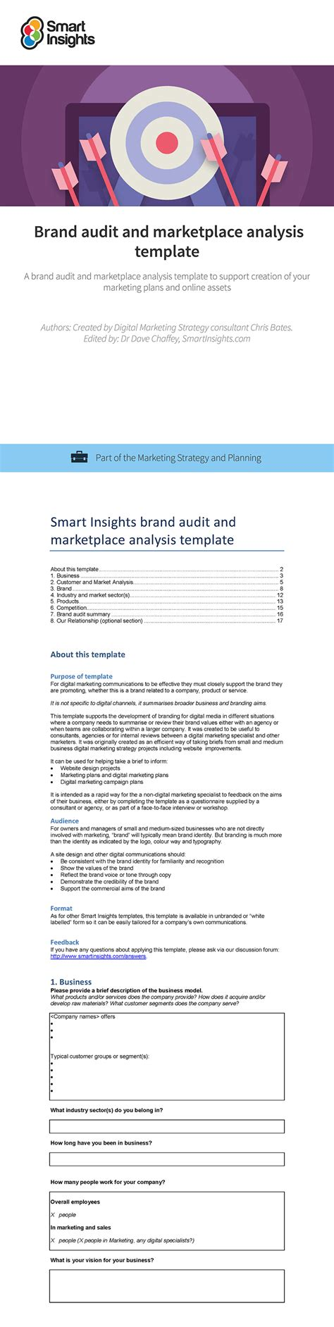 Brand Audit And Marketplace Analysis Template Smart Insights Brand Audit Template
