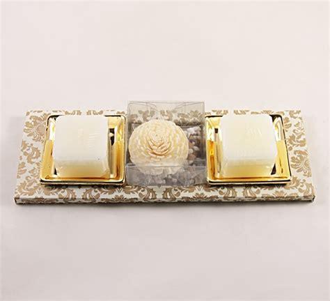 acquisto candele on line il rustico set regalo candele e vassoio oro speciale