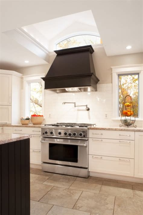 White Kitchen Backsplash Tiles by Black Kitchen Hood Transitional Kitchen Aidan Design
