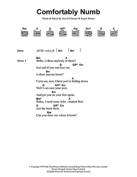 comfortably numb chords guitar comfortably numb sheet music by pink floyd lyrics