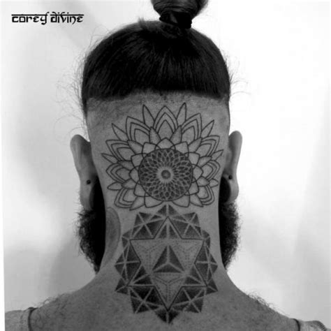 head neck dotwork geometric tattoo by corey divine