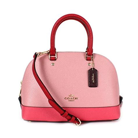 Coach Mini Satchel Multi Pink Coach Geomtrc Colorblock Mini Satchel Strawberry