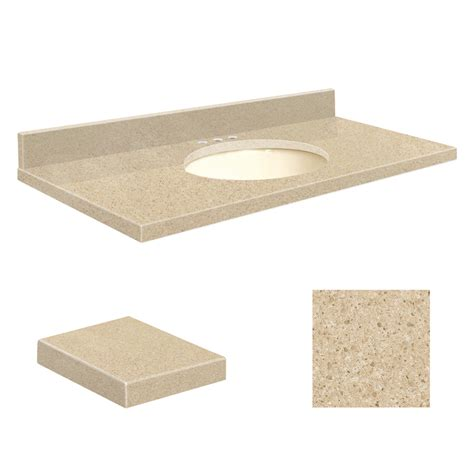 bathroom vanity tops 43 x 22 shop transolid durum cream quartz undermount single sink