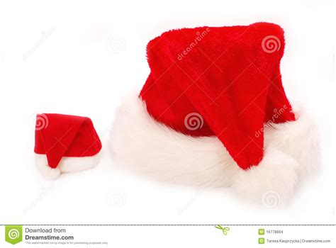 big and small santa hats stock images image 16778664
