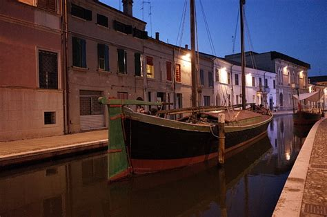 The canals and stunning architecture of Comacchio at night