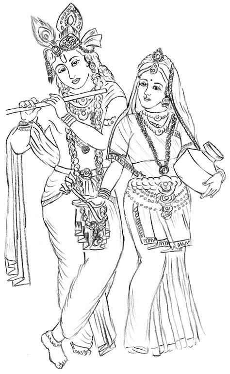 Outline Pictures Of God Krishna by Radha Krishna Outline Sketch Coloring Page