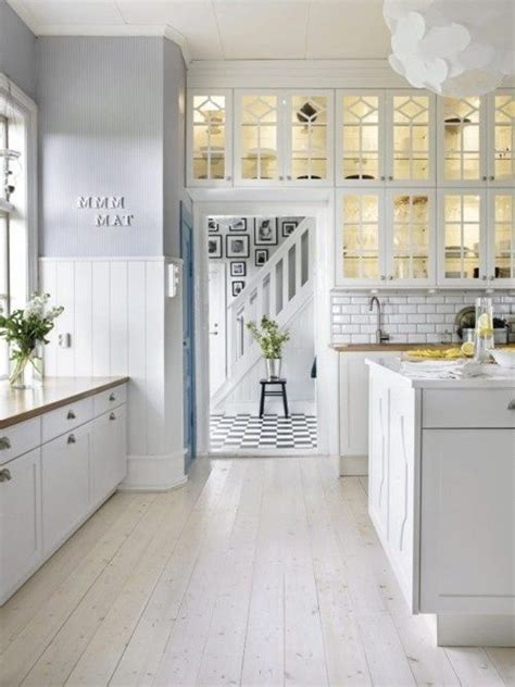 white kitchen white wash floor boards kitchen