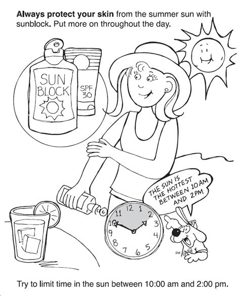 sun block coloring page playground safety coloring books coloring pages