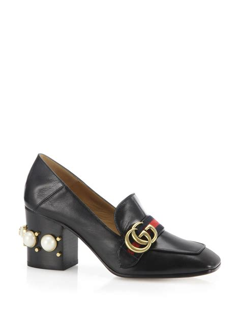 gucci peyton pearl heel leather loafers in black lyst