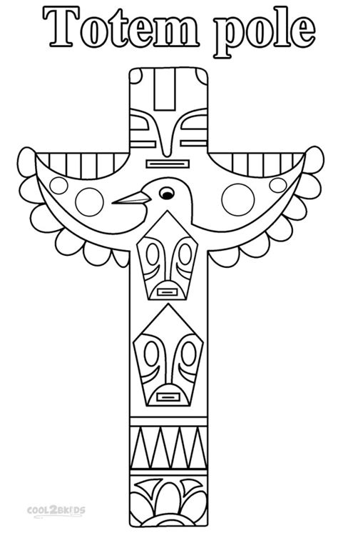 Totem Pole Faces Coloring Pages