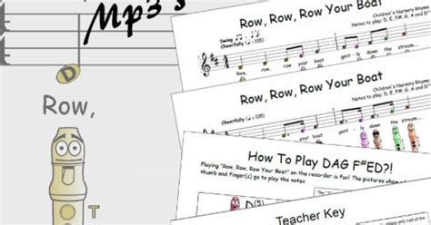 row row your boat on recorder recorder sheet music row row row your boat kindergarten