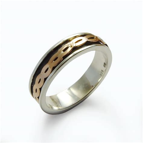 braided metal ring gold silver copper mixed metal ring rose gold spinner ring braided meditation band sterling
