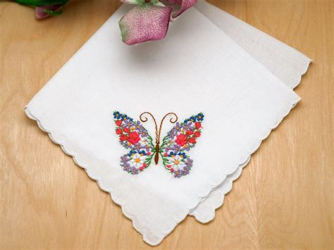 embroidery design for handkerchief set of 3 butterfly floral embroidered ladies handkerchiefs