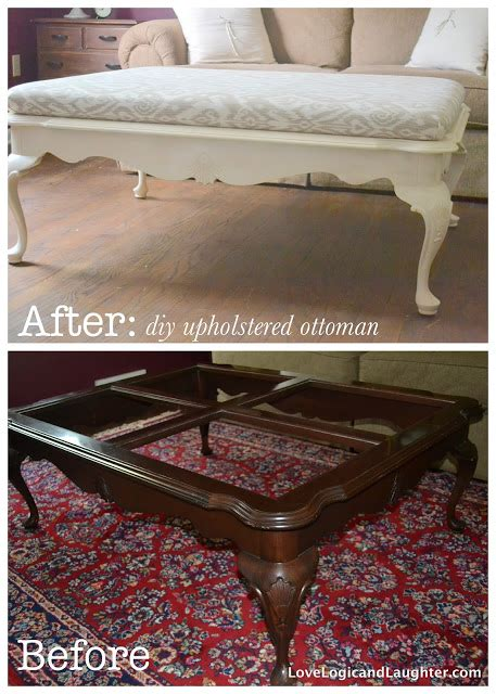 Diy Upholstered Ottoman Coffee Table Upholster A Footstool Diy Crafts