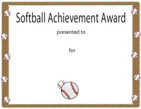 Free Softball Certificate Templates by Softball Achievement Award Certificate