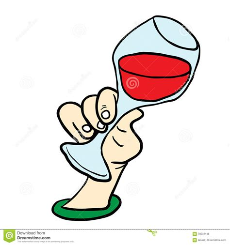 cartoon wine glass hand holding glass of wine stock illustration image