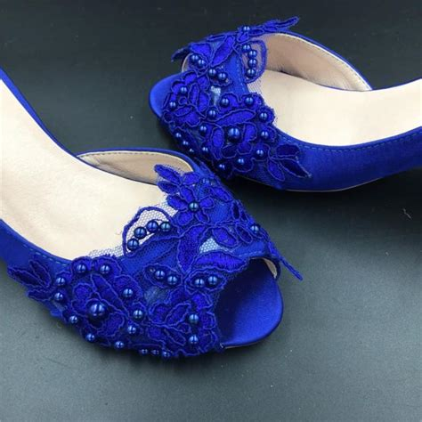 royal blue flower shoes sizes royalblue peep toe wedding shoes cobalt