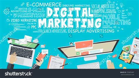 flat design illustration concept digital marketing stock