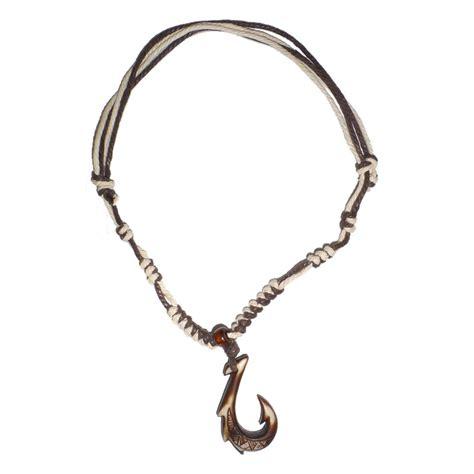 hawaiian jewelry manu makau style fish hook necklace with