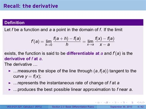 rules of section 8 lesson 8 basic differentiation rules section 21 slides