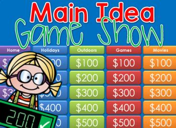 main idea jeopardy style game show  tiny toes tpt