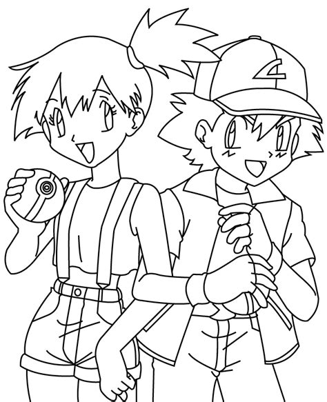 pokemon coloring pages misty misty and ash coloring pages coloring pages