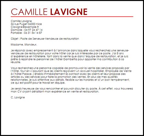 Lettre De Motivation Candidature Spontanée Hotellerie Restauration Exemple Lettre De Motivation Serveur Se Vendeur Se D H 244 Tellerie Restauration Livecareer