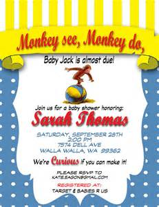items similar to curious george baby shower invite