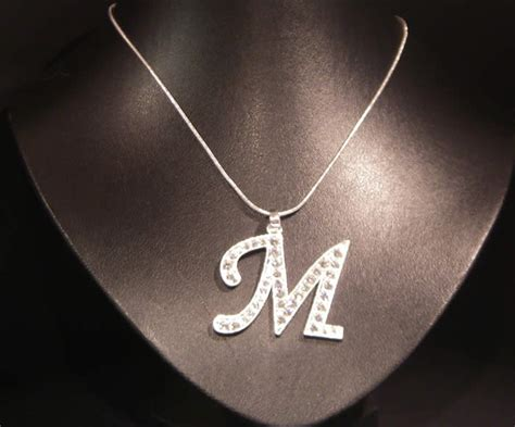 Initial M initial letter m necklace costume jewellery aladins