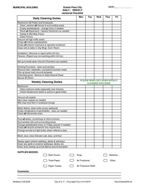 office cleaning checklist  planner template