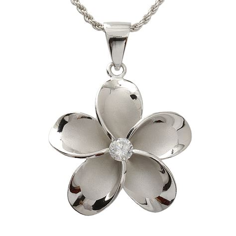 hawaiian jewelry 30mm plumeria cz rhodium pendant