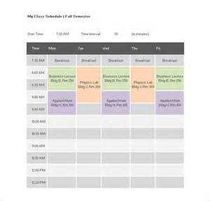 classroom schedule template college class schedule template 7 free word excel pdf