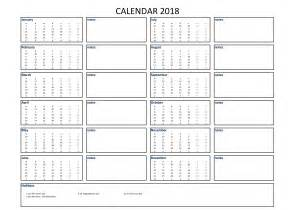 Calendar 2018 A4 Size Free 2018 Calendar Excel A4 Size With Notes Templates At