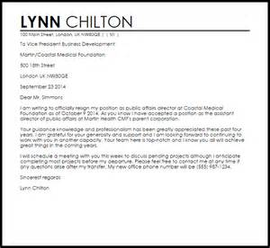 Resignation Letter Company by Resignation Letter For Transfer Within The Same Company Livecareer