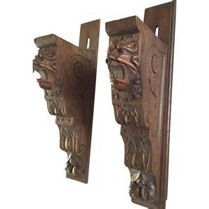 sold to brenden pair oak carved wood wall brackets shelf